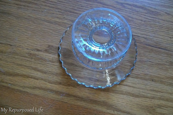 candle holder to make glass dessert plate