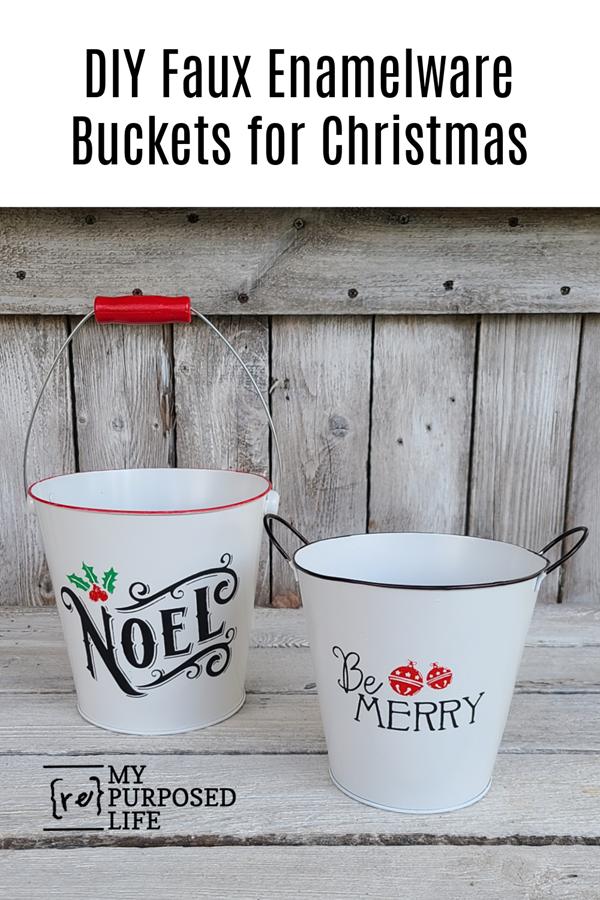 DIY faux enamelware buckets for Christmas MyRepurposedLife