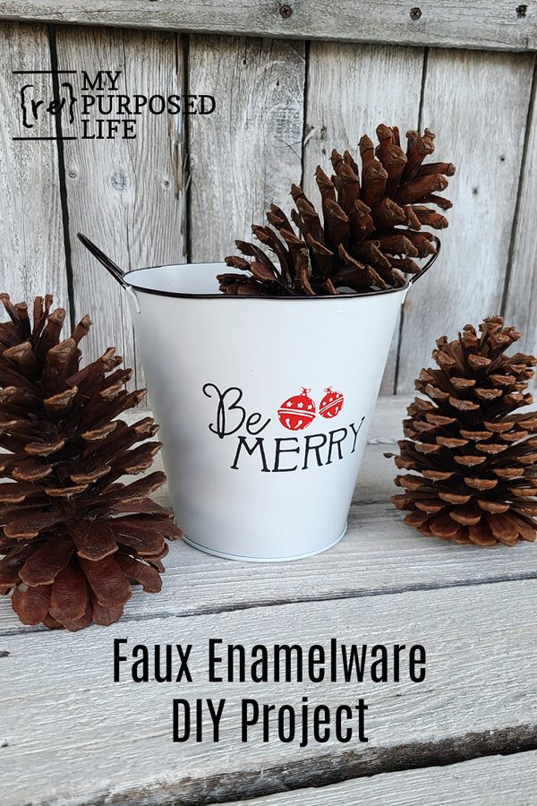 Using cheap buckets, you can make faux enamelware pieces for everyday decorating or even holiday decorations. Turn the bucket around for everyday use. Step by step directions will have you completing this project in a couple of hours. #MyRepurposedLife #repurposed #enamelware via @repurposedlife