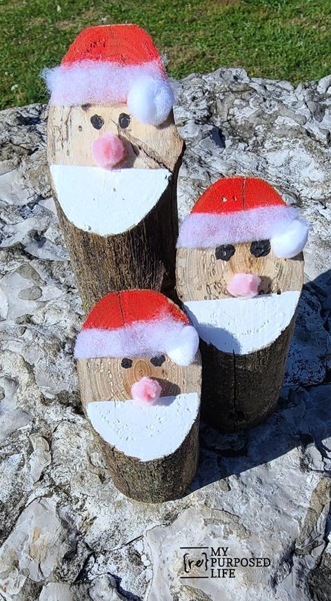 Santa logs made from tree branches MyRepurposedLife