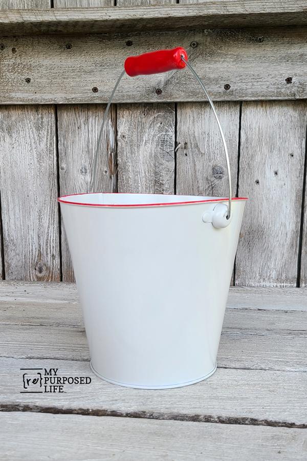 diy red faux enamelware bucket
