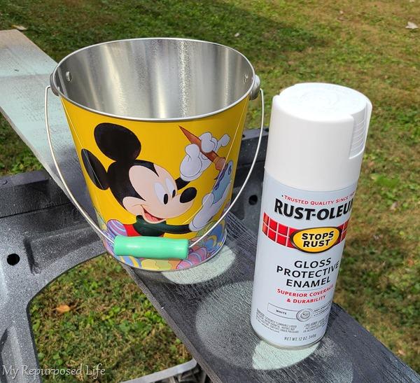 easter bucket into faux enamelware bucket