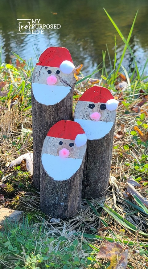easy santa log tree branch christmas decorations MyRepurposedLife
