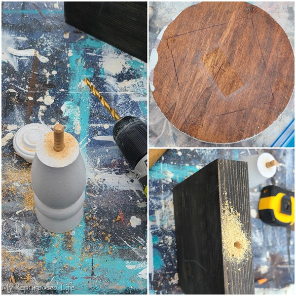 how to use dowel to stack spindle pieces