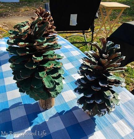 making pinecone Christmas trees