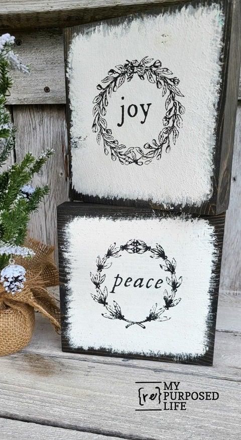 peace joy scrap wood christmas decor MyRepurposedLife