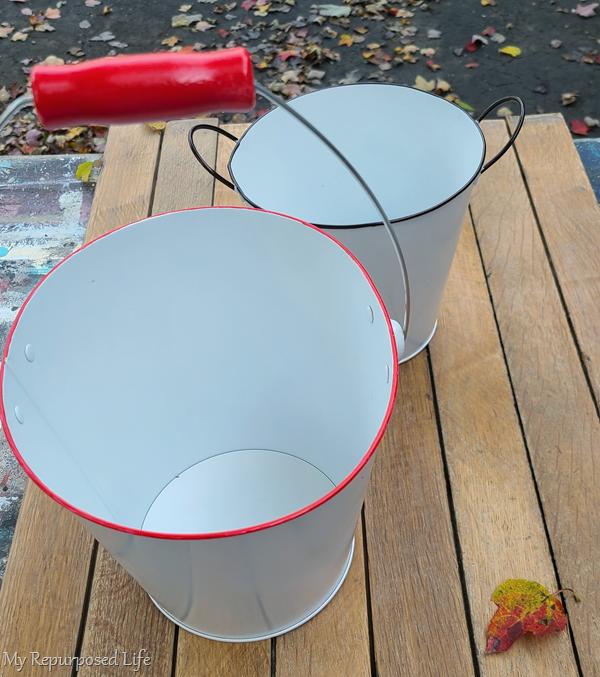 red faux enamelware bucket