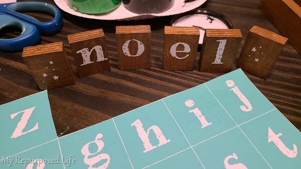 scrap wood Christmas decor small blocks NOEL