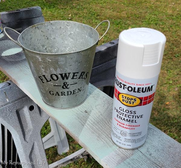 spray paint plus cheap galvanized bucket
