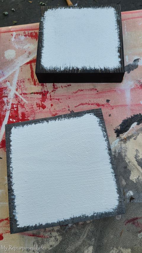 white paint over dark stain scrap blocks