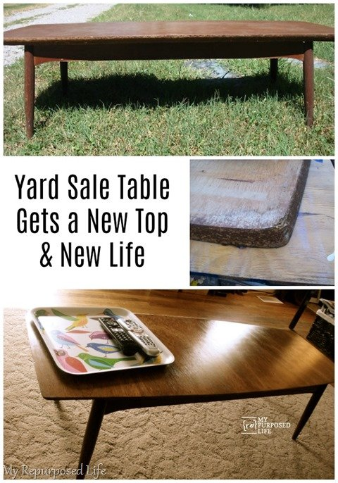 How to give a damaged vintage coffee table a new top and a new lease on life! Ten years later, the table is still hanging in there in it's new home. The table is probably going on 60-70 years old! They don't make them like this anymore. #myrepurposedlife #table #makeover via @repurposedlife