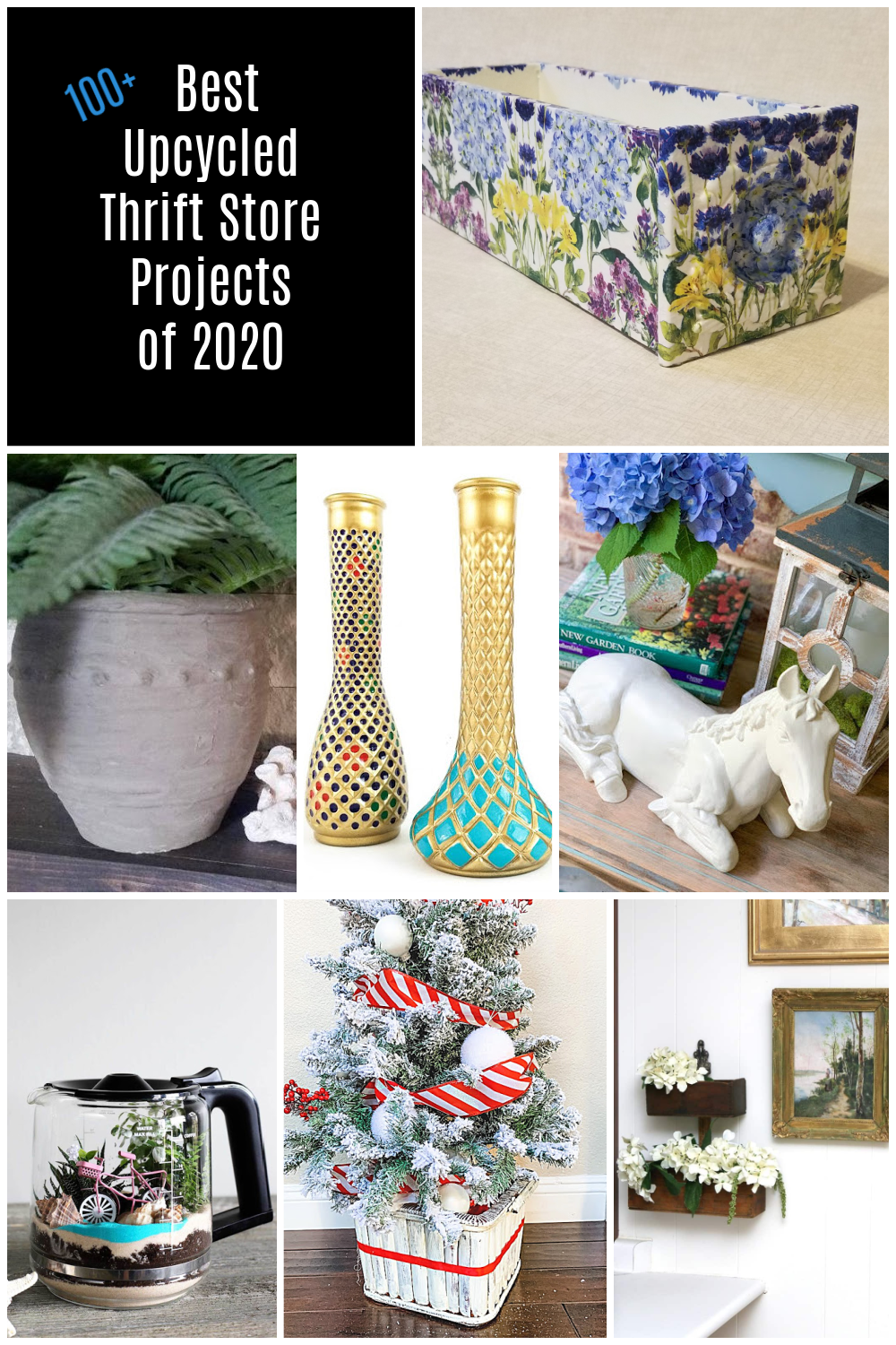 A fabulous collection of 100 upcycled thrift store ideas awaits right here to inspire you. You probably already have many items at your home. #MyRepurposedLife #repurposed #thrift #thriftstore #diy #projects via @repurposedlife