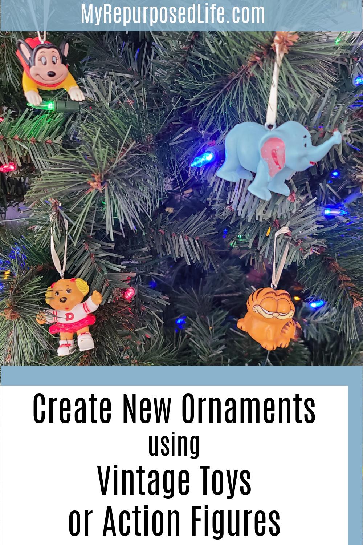 create new ornaments using vintage toys or action figures MyRepurpsoedLife