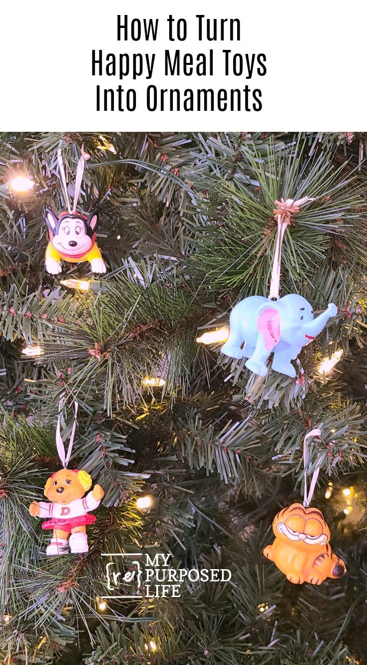 Easy project-how to make ornaments out of happy meal toys or your child's favorite action figures. Step by step directions to make your own today! #MyRepurposedLife #repurposed #happymealtoys #actionfigures #playset #diy #ornaments via @repurposedlife