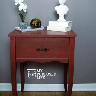 red side table old sewing cabinet