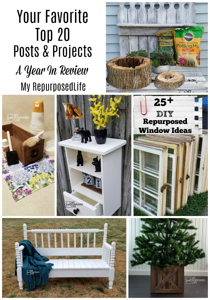 Your favorite Repurposed and DIY projects from 2020. Projects from My Repurposed Life and friends will inspire you to do some DIY. #MyRepurposedLife #repurposed #diy #popularprojects #readersfavs via @repurposedlife
