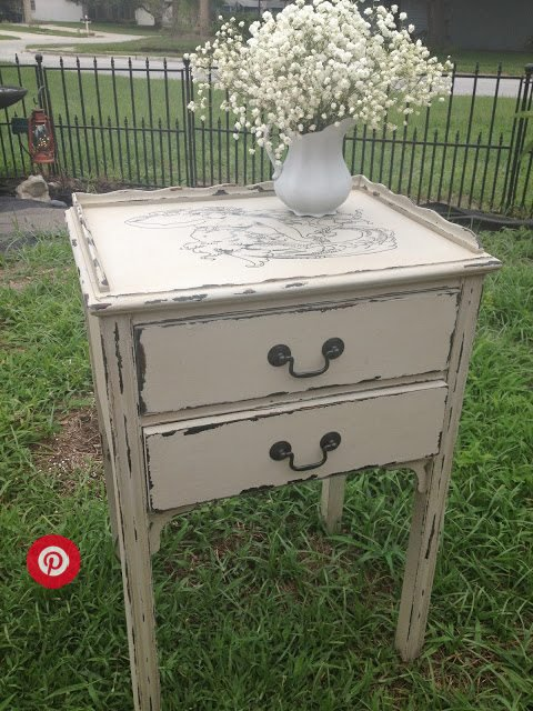 chippy white stenciled table