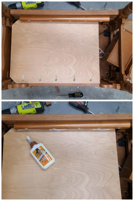 add shelf to sewing cabinet base