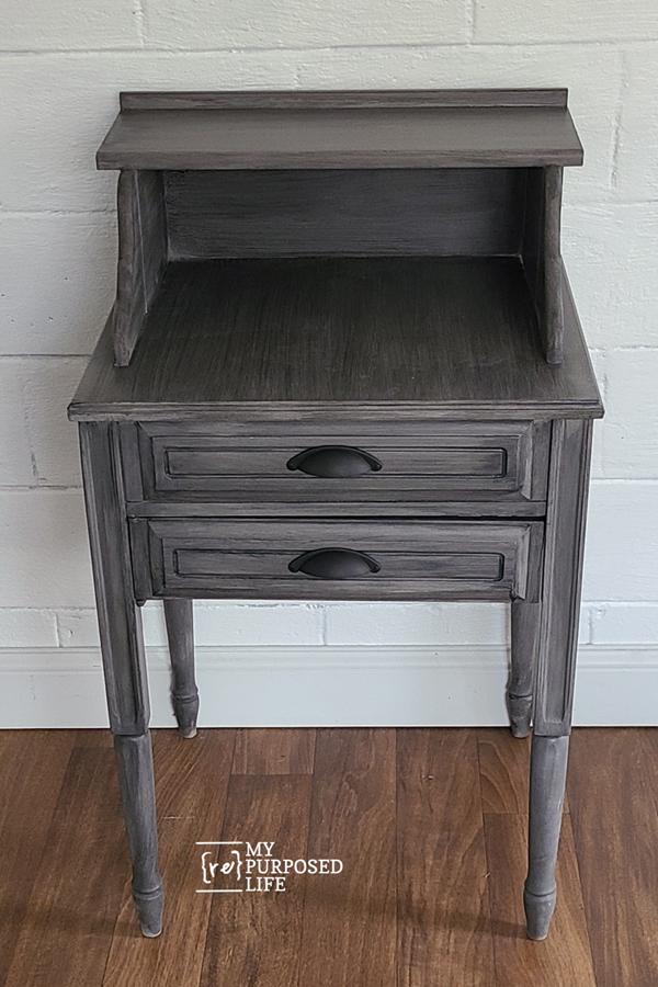 dark grey secretary desk made from a sewing cabinet MyRepurposedLife