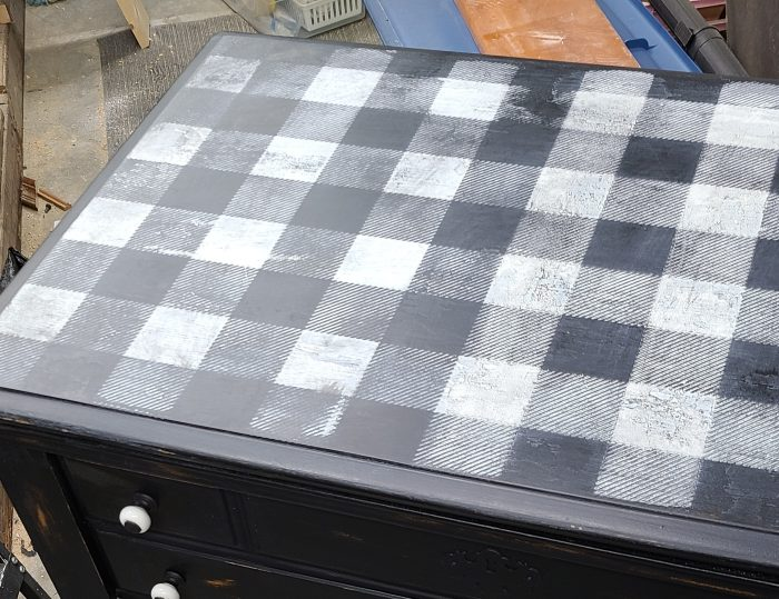 distressed buffalo plaid table top