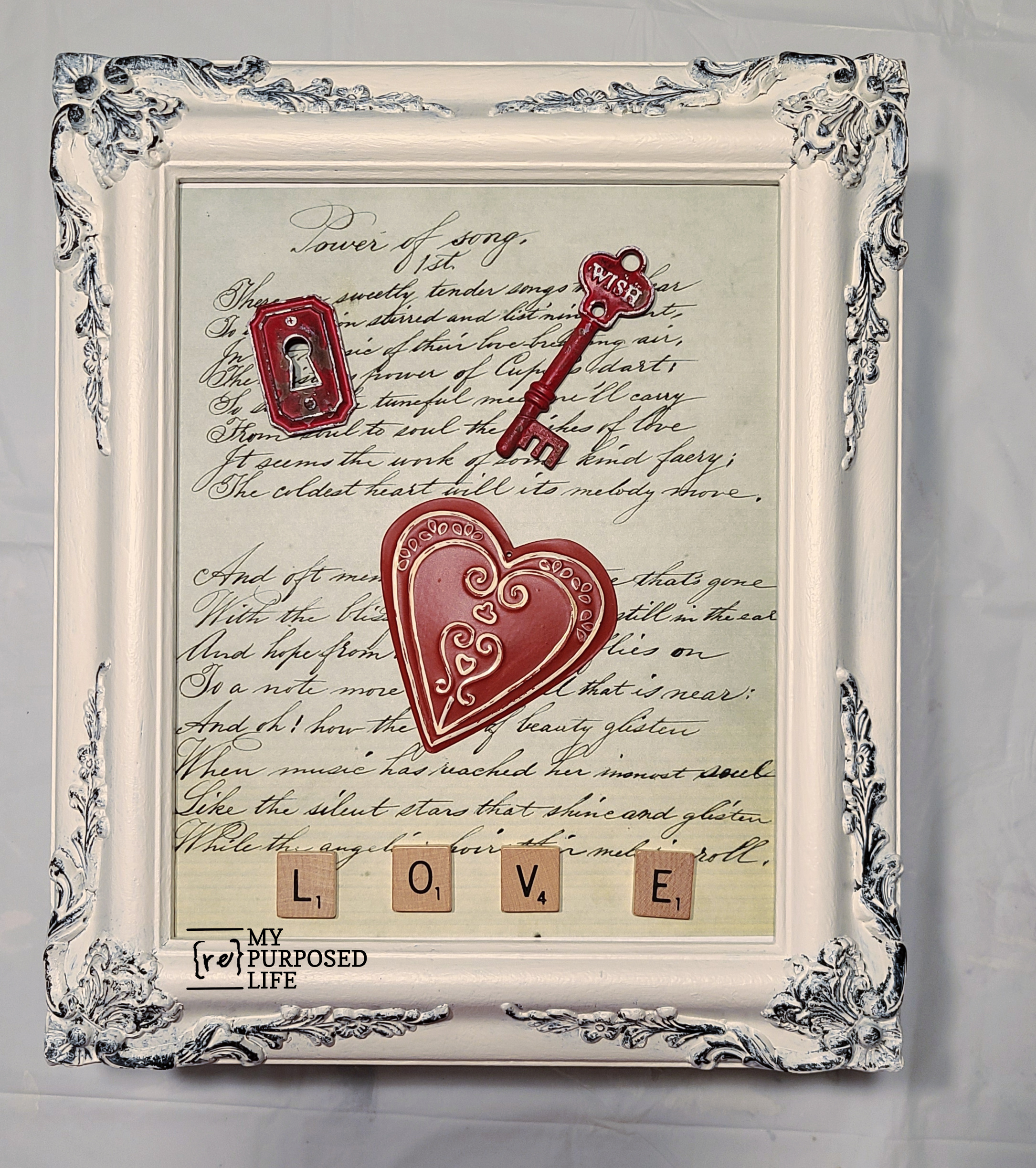 dry fit of picture frame valentine project