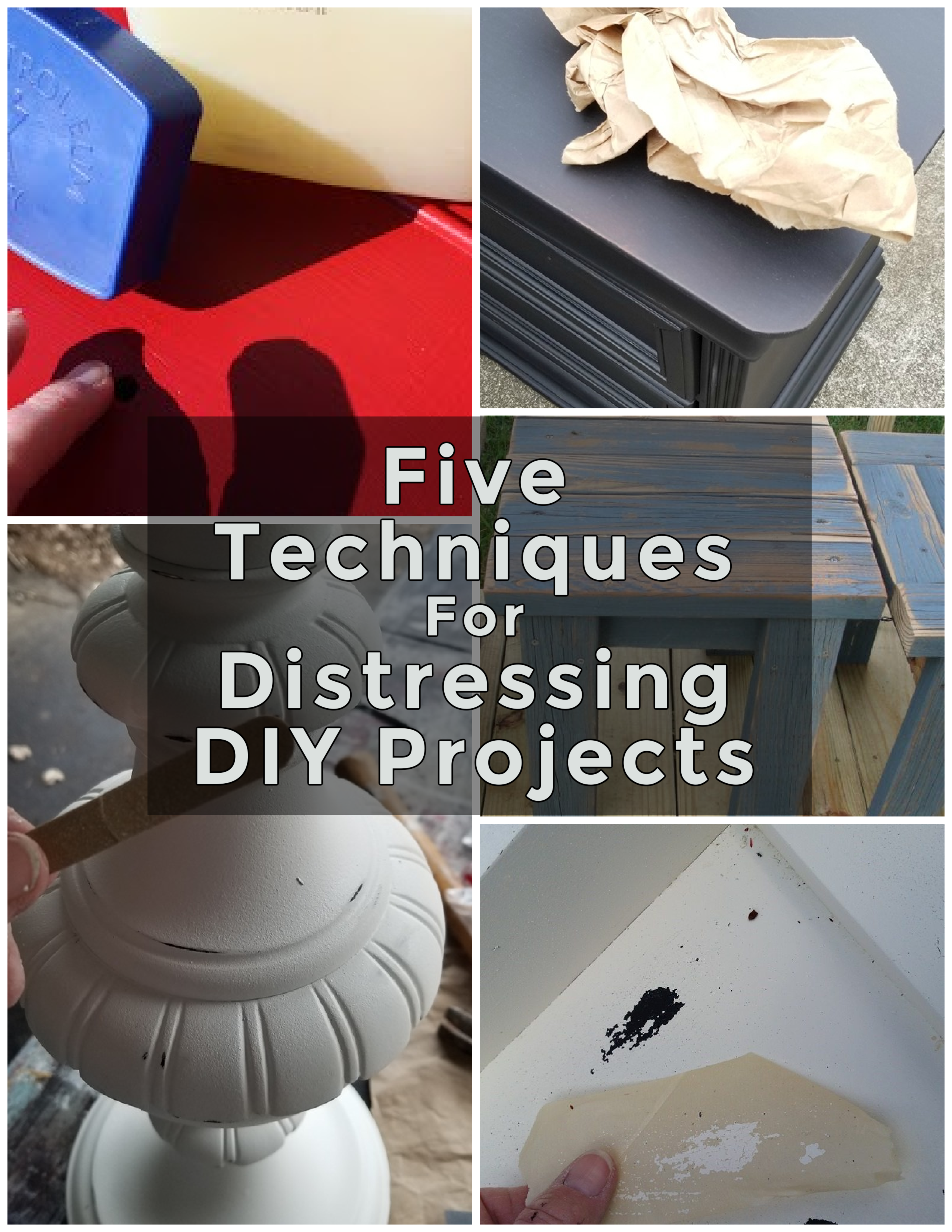 """Do you stress over """"how to distress"""" furniture and other diy projects? I'm sharing many projects highlighting 5 ways to get the perfect look. #MyRepurposedLife #repurposed #distressing #furniture via @repurposedlife"""
