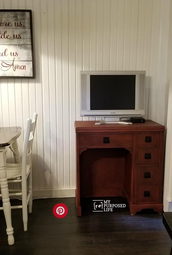 red-glazed-vintage-sewing-desk-cabinet-in-the-kitchen-MyRepurposedLife.com