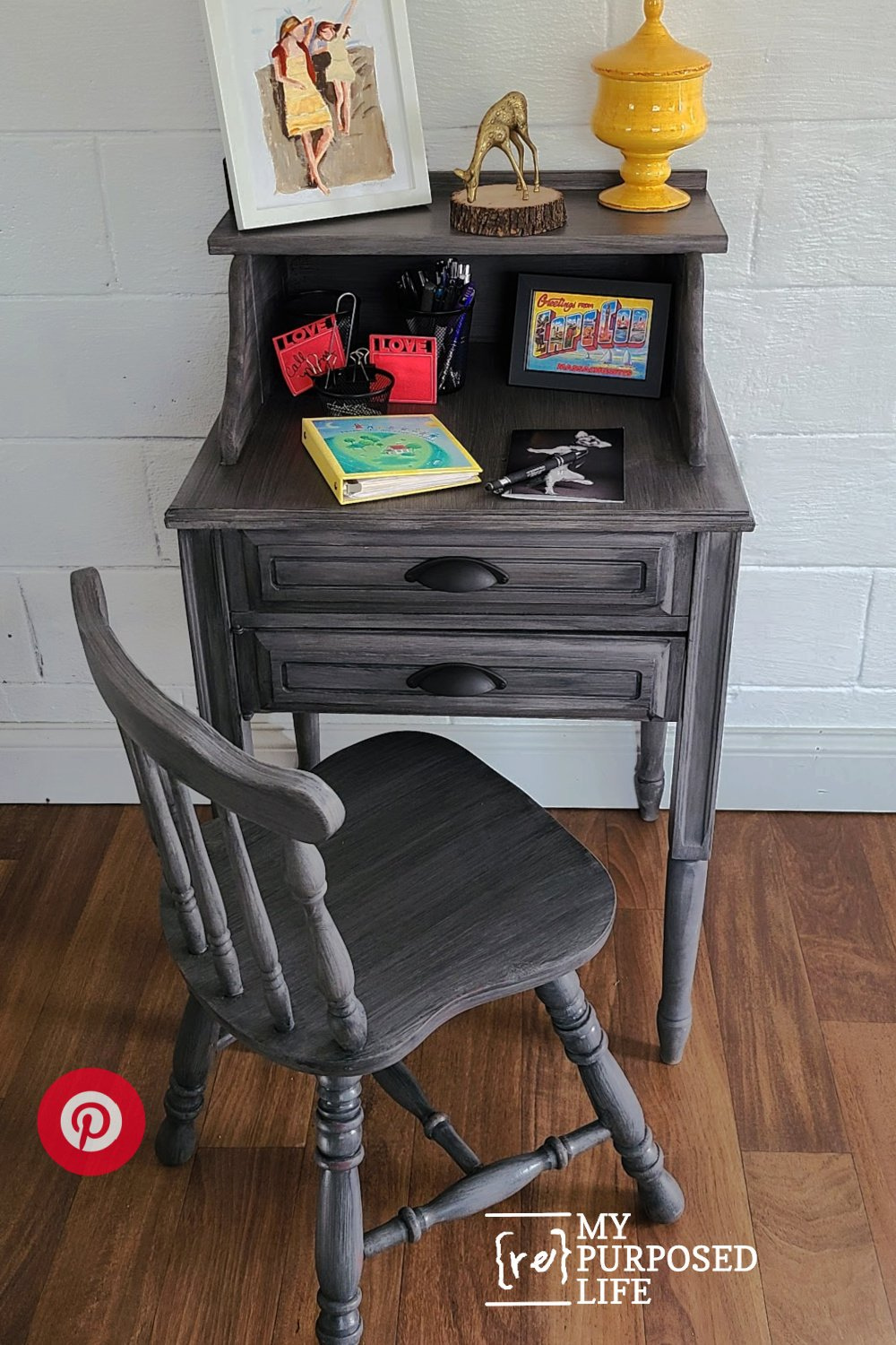 secretary desk made from a sewing cabinet MyRepurposedLife