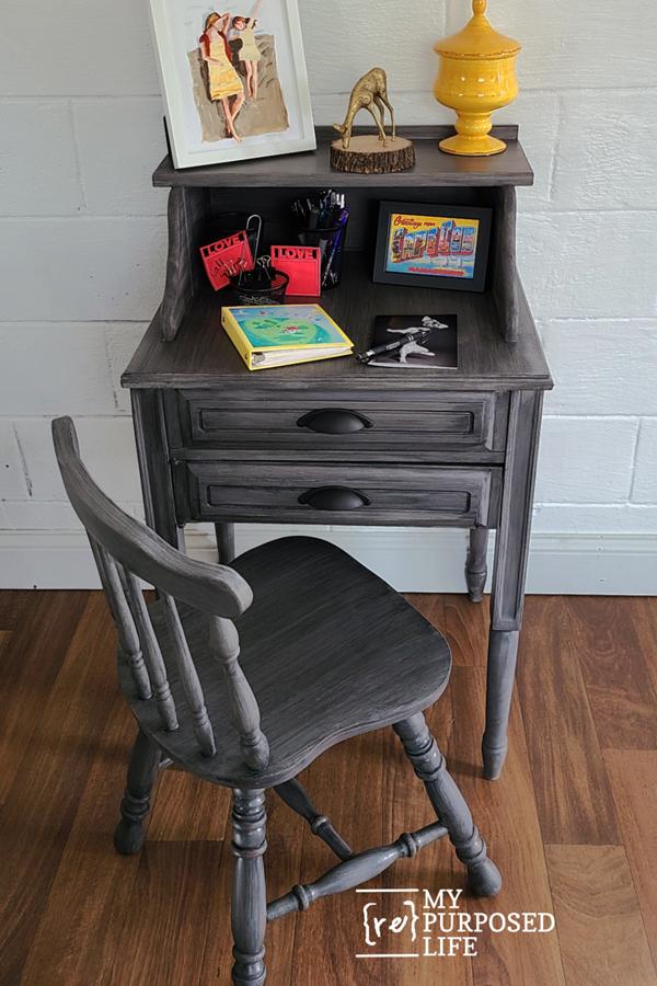 secretary desk made from old sewing machine cabinet MyRepurposedLife