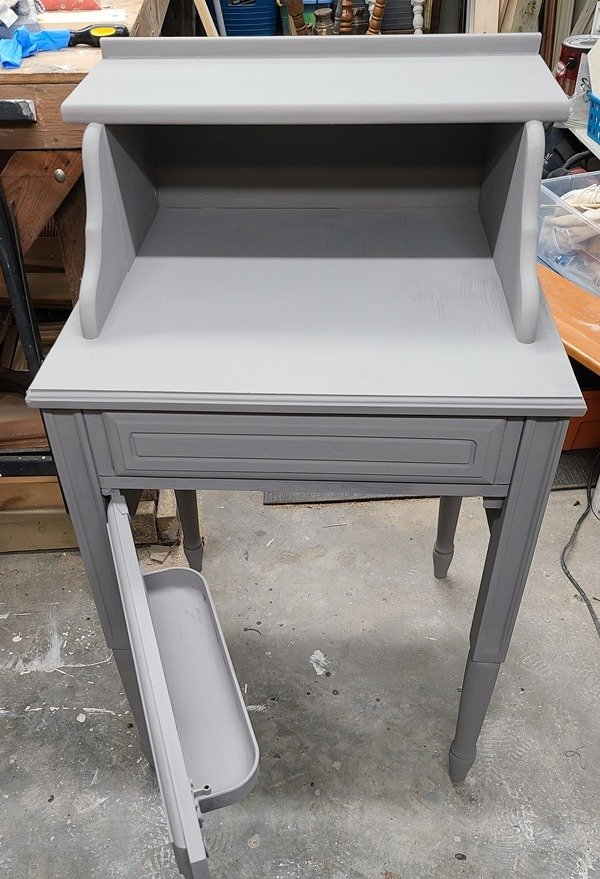 secretary desk with first coat of paint