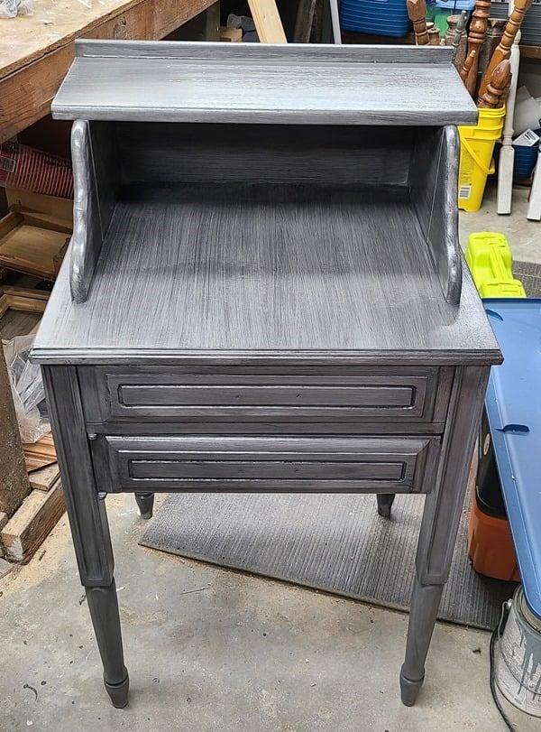 secretary desk with smokey glaze