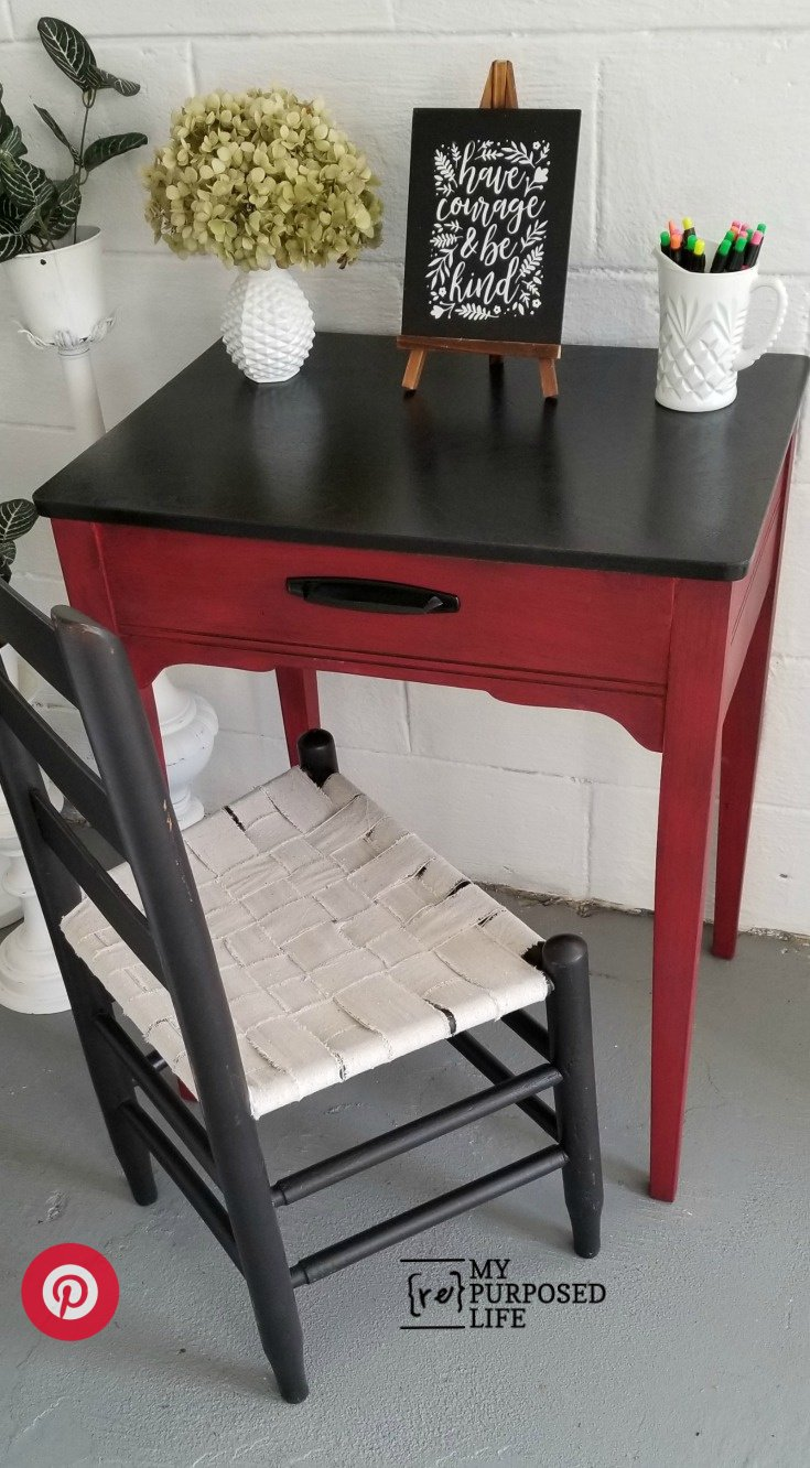red and black writing desk