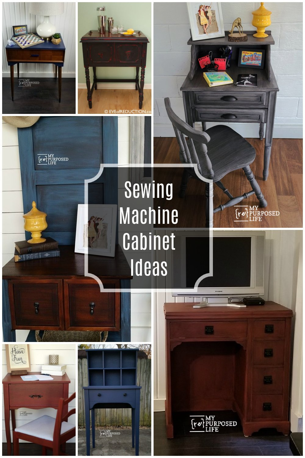 A collection of sewing machine cabinet ideas for everyone. Projects for beginners or intermediate woodworkers. Something for you to DIY. So many great ideas. #MyRepurposedLife #repurposed #furniture #sewingcabinet #diy #project #table #desk #homeworkstation via @repurposedlife