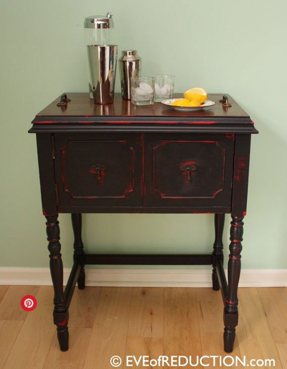 sewing machine cabinet into a portable bar