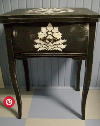 stenciled sewing cabinet laptop station