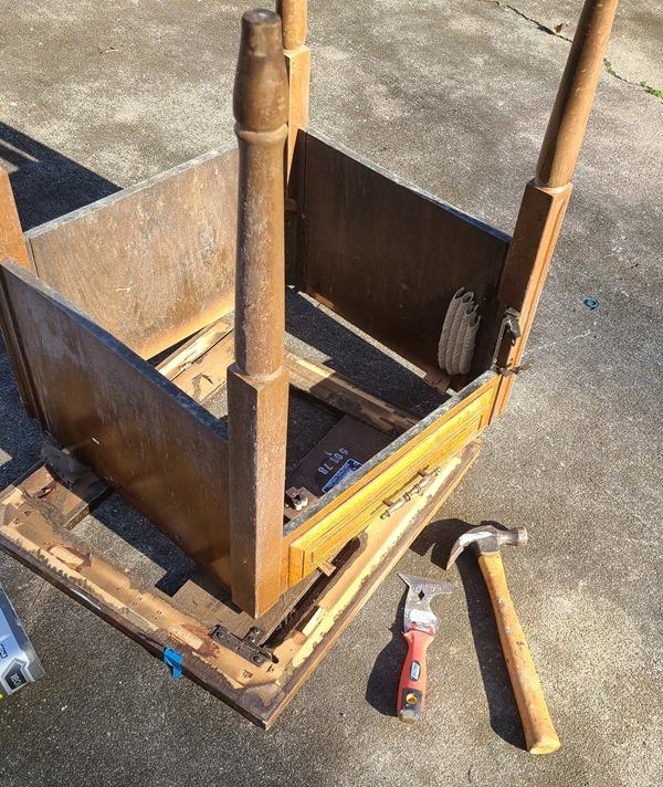 take apart old sewing cabinet