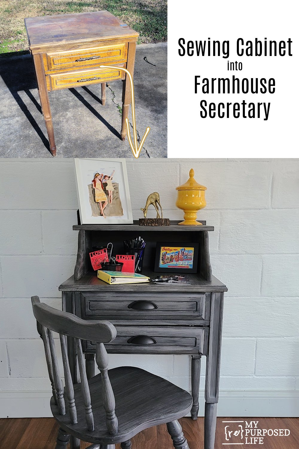 Step by step directions on how to make a secretary desk from an unwanted sewing cabinet. Perfect for laptop, or bill paying center. Tips for building and painting. #MyRepurposedLife #repurposed #upcycle #sewingcabinet #secretary via @repurposedlife via @repurposedlife