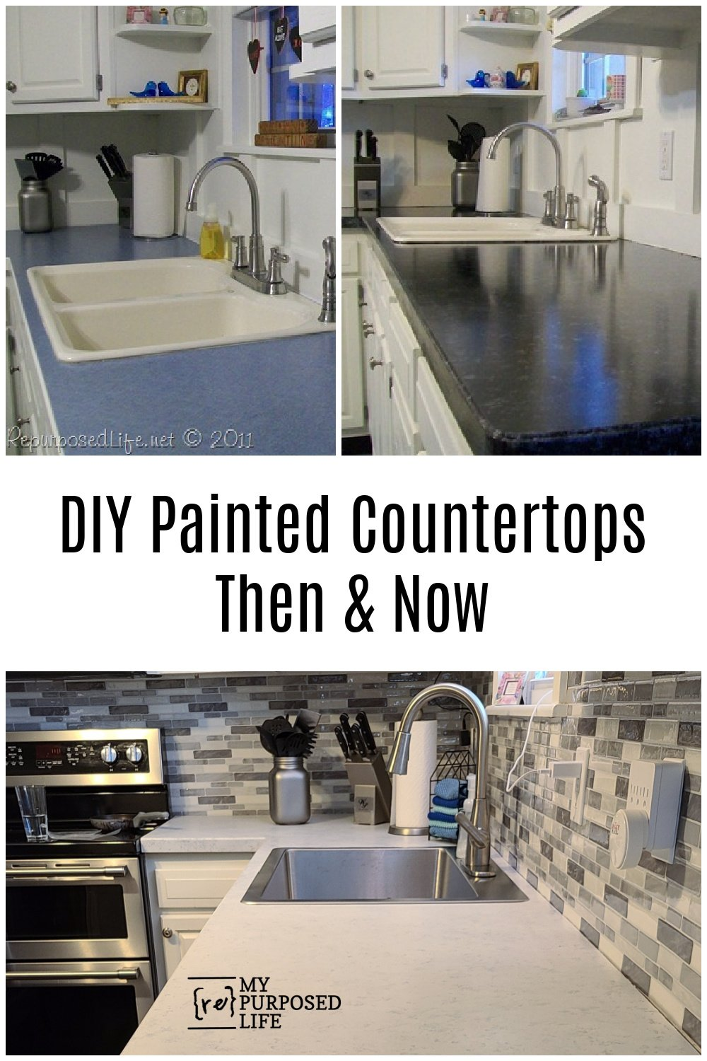 Painted years ago, I decided to do it again! Painted kitchen countertops tips and tricks to revive an outdated kitchen. It's so easy! #MyRepurposedLife #paint #kitchen #countertops #diy #htp #allinonepaint via @repurposedlife