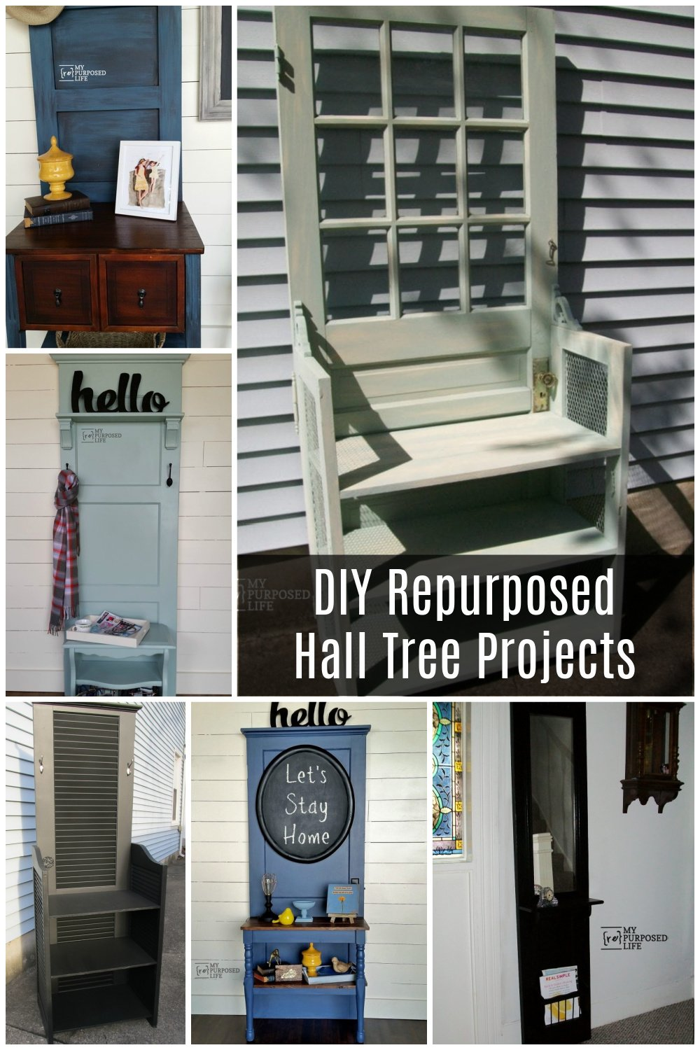 Check out this collection of hall tree projects. I love marrying pieces with doors. You can use nightstands, tables, sewing machine cabinets and more! #MyRepurposedLife #repurposed #funiture #diy #halltree via @repurposedlife