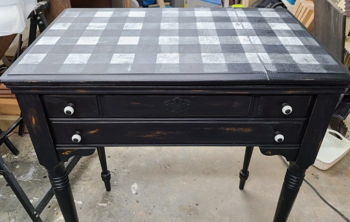 wet distressed sewing machine cabinet craft table