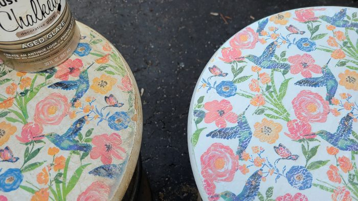 aged decoupage milk can table