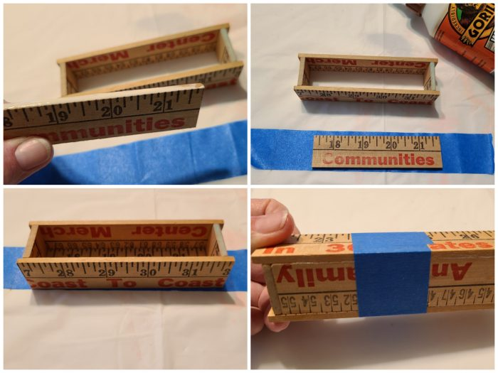 attach bottom of yardstick business card box