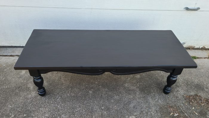 black coffee table makeover after two coats of paint