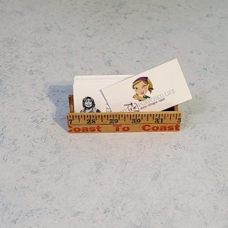 business card holder made from a yardstick