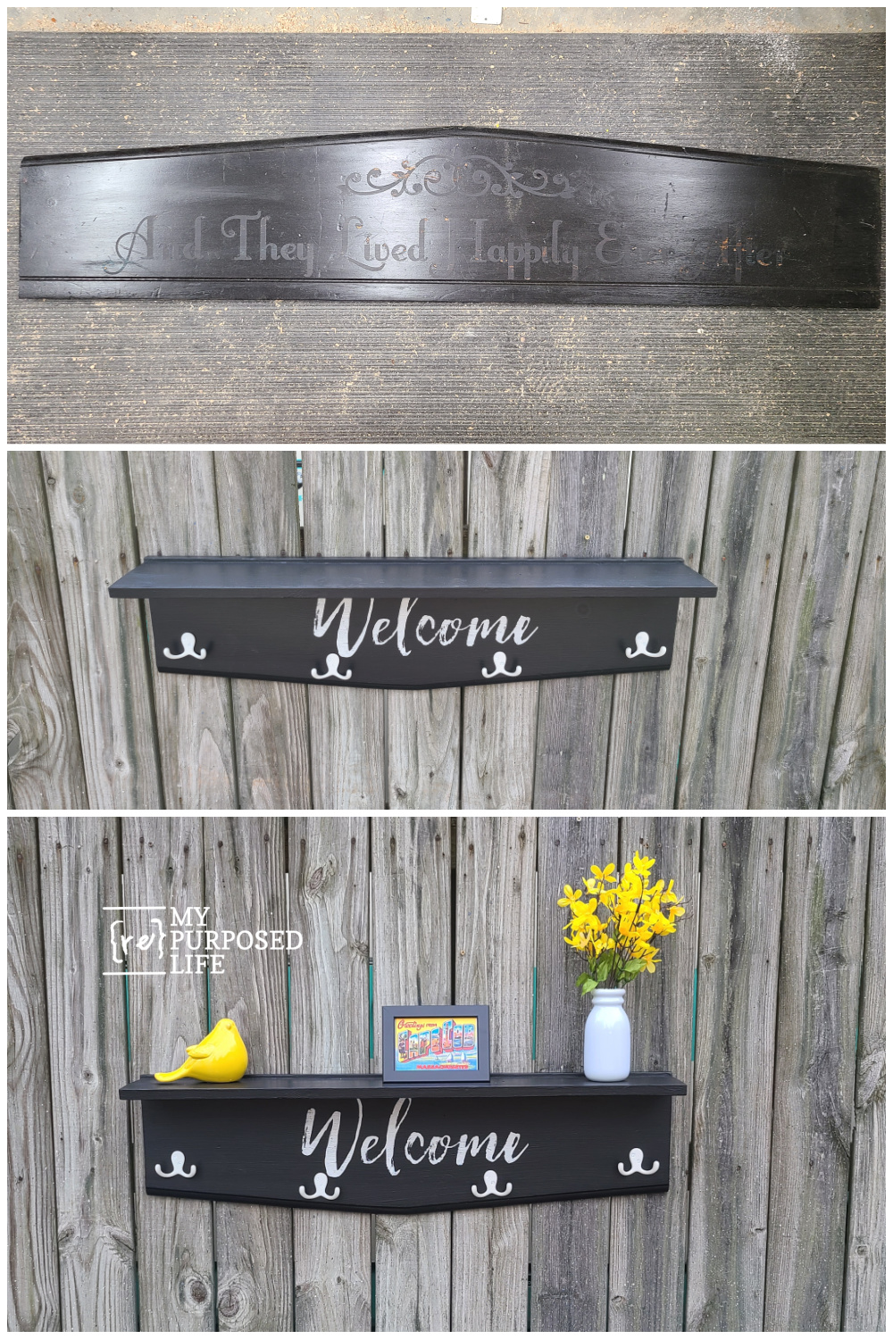 How to make a headboard coat rack shelf using old and new bits and pieces. Step by step tutorial to make this project in an afternoon. #MyRepurposedLife #repurposed #furniture #headboard #hook #shelf #coatrack via @repurposedlife