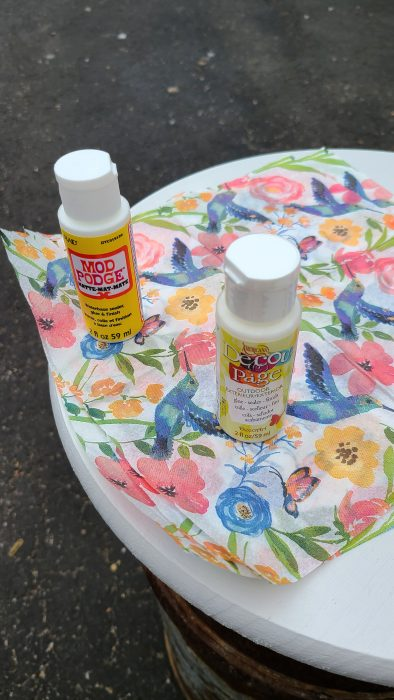 how to decoupage milk can table top