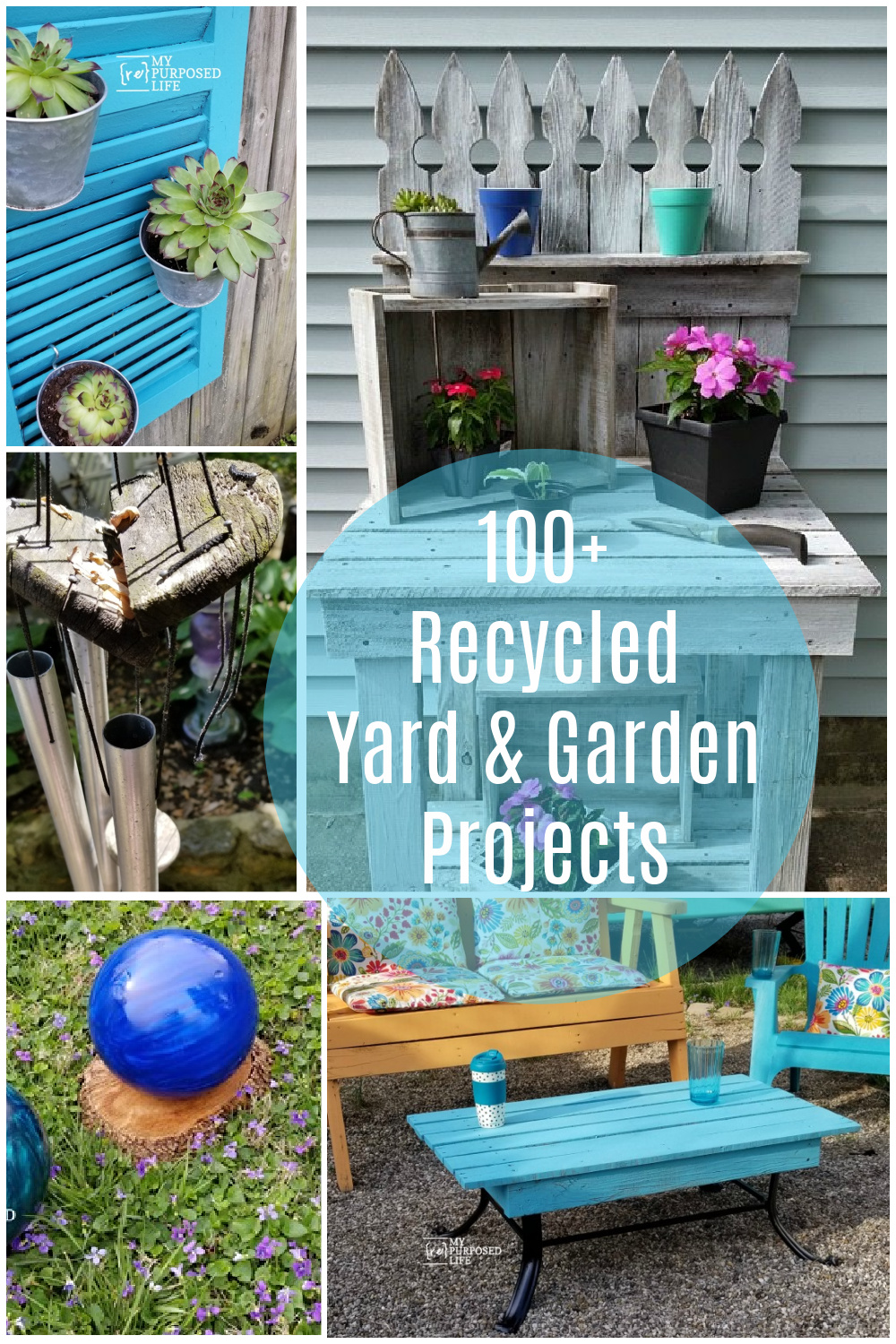 You will be inspired to upcycle junk when you see this collection of recycled yard and garden projects from My Repurposed Life and friends. #MyRepurposedLife #repurposed #yard #garden #projects via @repurposedlife