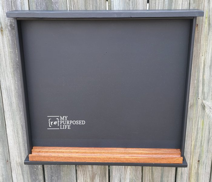 testing tray fit on desk drawer chalkboard