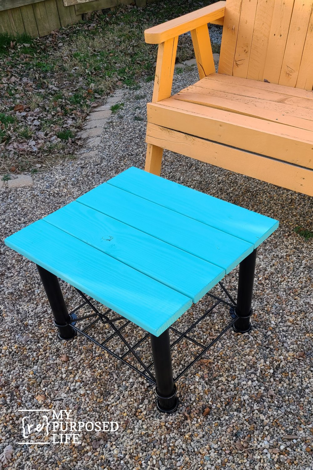 Use an upcycled metal table frame to make a very colorful and useful table for an outdoor space. It's easier than you think. I'll show you how. #MyRepurposedLife #repurposed #upcycled #metal #table via @repurposedlife