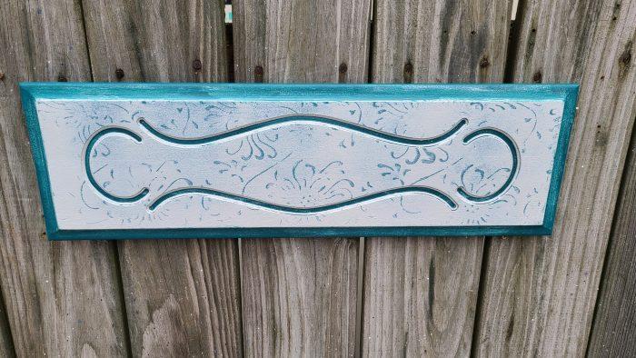 repurposed drawer front chrysanthemum pattern